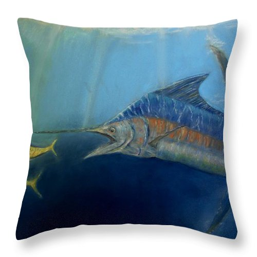 Marine Wildlife Throw Pillow featuring the pastel Two For Lunch by Ceci Watson