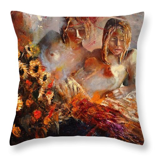Girl Nude Throw Pillow featuring the painting Two Friends by Pol Ledent