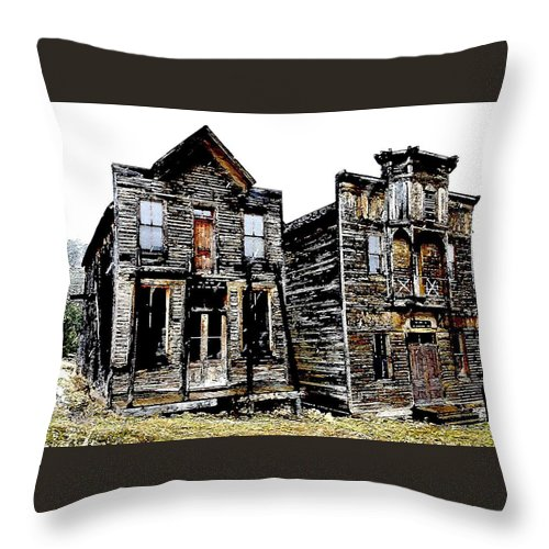 Ghost Town Throw Pillow featuring the photograph Two Ghosts by Nelson Strong