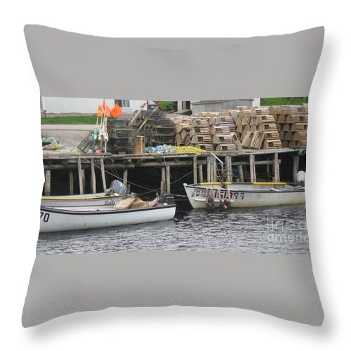 Photograph Atlantic Ocean Water Sea Swimming Girl Summer Newfoundland Bonnebay Boat Lobster Throw Pillow featuring the photograph two girls swimming in the Atlantic Ocean by Seon-Jeong Kim