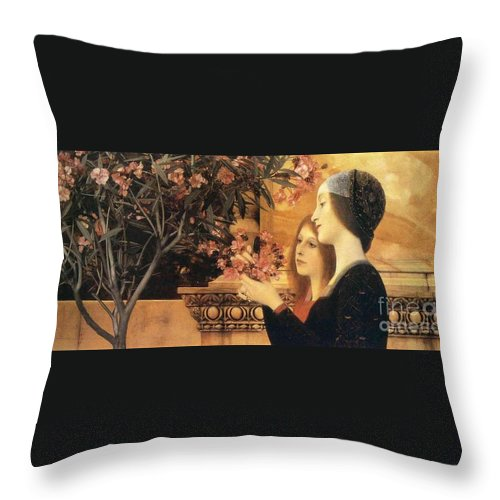Master Artists Throw Pillow featuring the painting Two Girls With An Oleander by Klimt