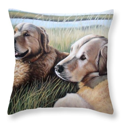 Dogs Throw Pillow featuring the painting Two Golden Retriever by Nicole Zeug