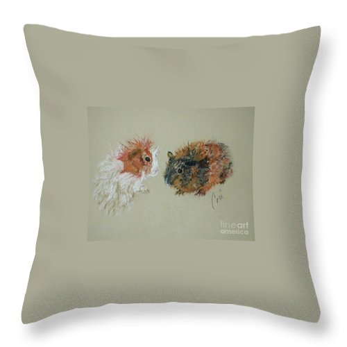 Guineas Throw Pillow featuring the drawing Two Guineas by Cori Solomon