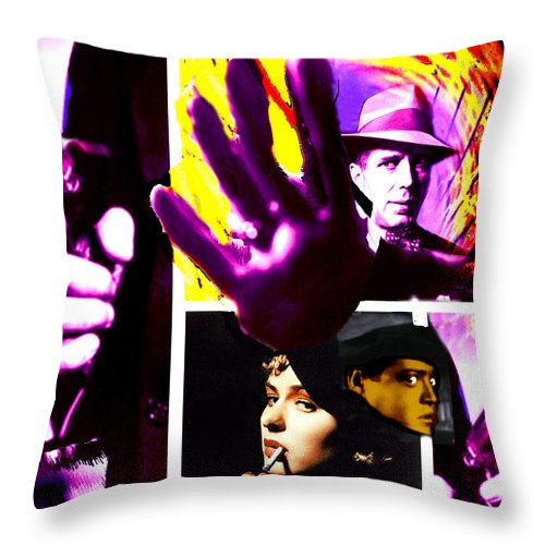 Humphrey Bogart Throw Pillow featuring the digital art Two Guys Two Guns And A Dame by Seth Weaver