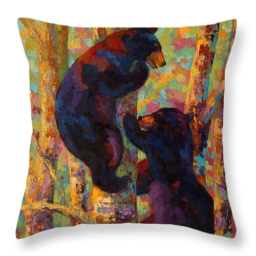 Bear Throw Pillow featuring the painting Two High - Black Bear Cubs by Marion Rose