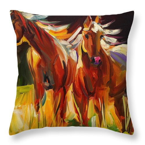Painting Throw Pillow featuring the painting Two Horse Town by Diane Whitehead