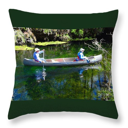 Canoe Throw Pillow featuring the photograph Two In A Canoe by David Lee Thompson