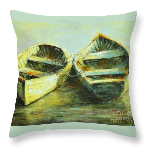 Canvas Prints Throw Pillow featuring the painting Two In A Row by Madeleine Holzberg