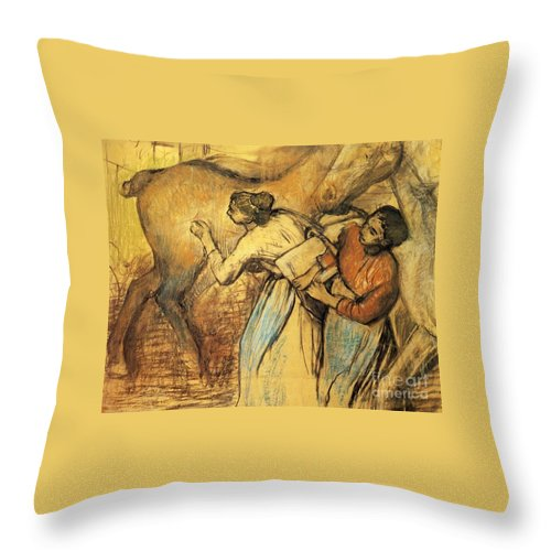 Master Artists Throw Pillow featuring the painting Two Laundresses With A Horse by Degas