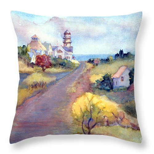 Two Lights Throw Pillow featuring the painting Two Lights In Cape Elizabeth Maine by Pamela Parsons