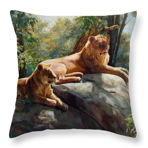 Lions Throw Pillow featuring the painting Two Lions - Forever And Always Together by Svitozar Nenyuk