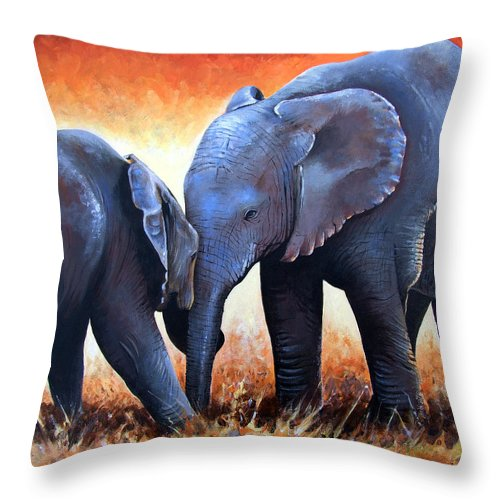 Elephants Throw Pillow featuring the painting Two Little Elephants by Paul Dene Marlor