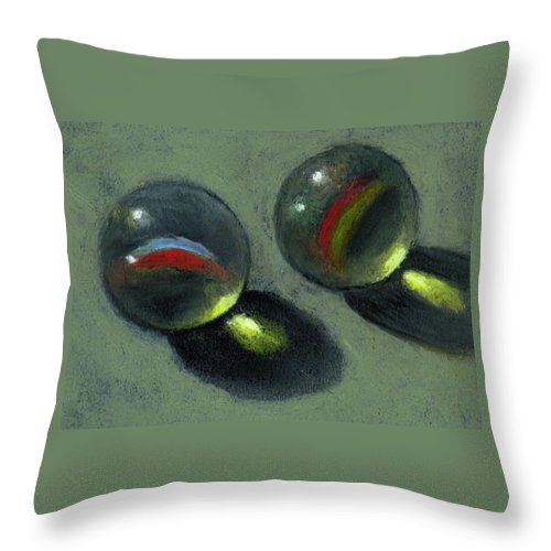 Marbles Throw Pillow featuring the pastel Two Marbles In Pastel by Joyce Geleynse