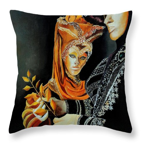 Mask Venice Carnavail Italy Throw Pillow featuring the painting Two Masks In Venice by Pol Ledent