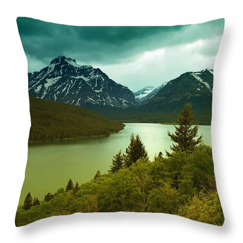 Mountains Throw Pillow featuring the photograph Two Medicine by Jeff Swan