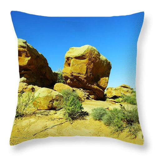 Rocks Throw Pillow featuring the photograph Two Orange Rocks by Jeff Swan