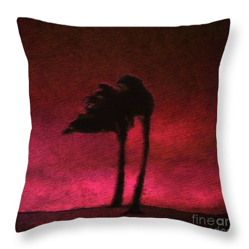 Landscape Throw Pillow featuring the digital art Two Palms by Ethan Chodos