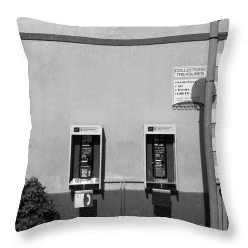Pay Throw Pillow featuring the photograph Two Pay Phones by Perry Webster