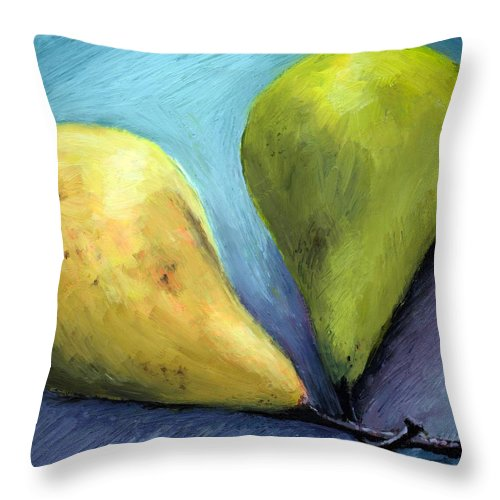 Pear Throw Pillow featuring the painting Two Pears Still Life by Michelle Calkins