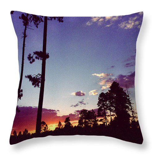 Arizona Sunset Throw Pillow featuring the photograph Two Pines Sunset by Randy Oberg