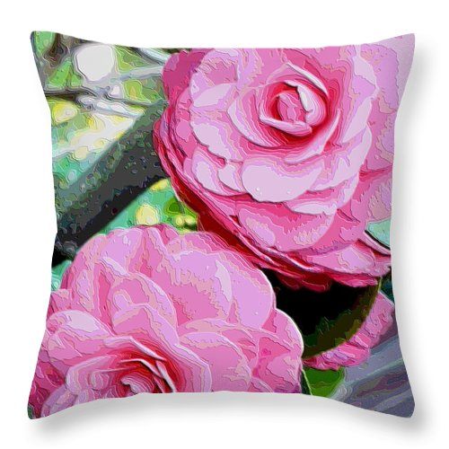 Camellia Throw Pillow featuring the photograph Two Pink Camellias - Digital Art by Carol Groenen