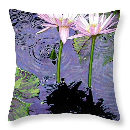 Pink Water Lilies Throw Pillow featuring the painting Two Pink Lilies In The Rain by John Lautermilch