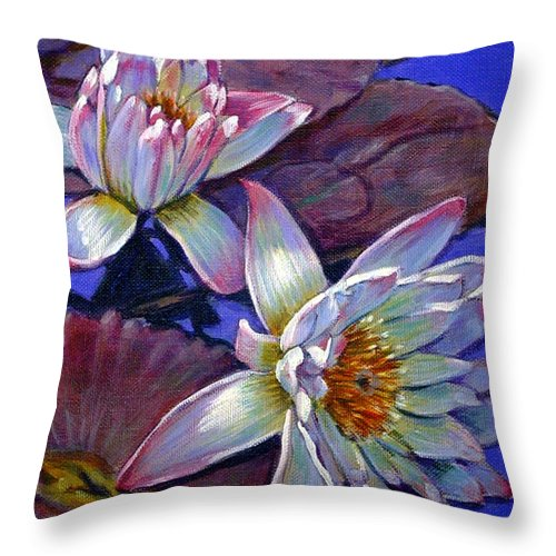 Water Lilies Throw Pillow featuring the painting Two Pink Water Lilies by John Lautermilch
