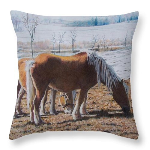 Horses Throw Pillow featuring the mixed media Two Ponies In The Snow by Constance Drescher