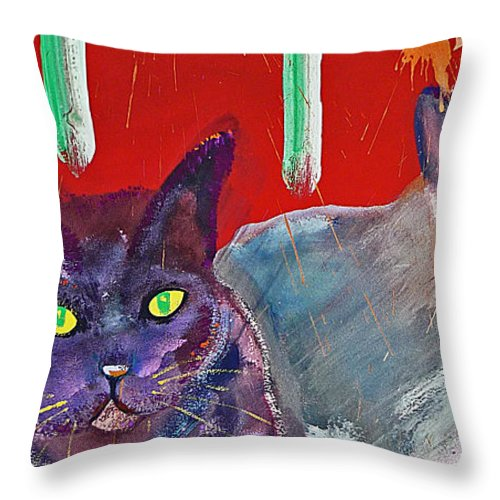 Cat Throw Pillow featuring the painting Two Posh Cats by Charles Stuart