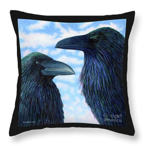 Raven Throw Pillow featuring the painting Two Ravens by Brian Commerford