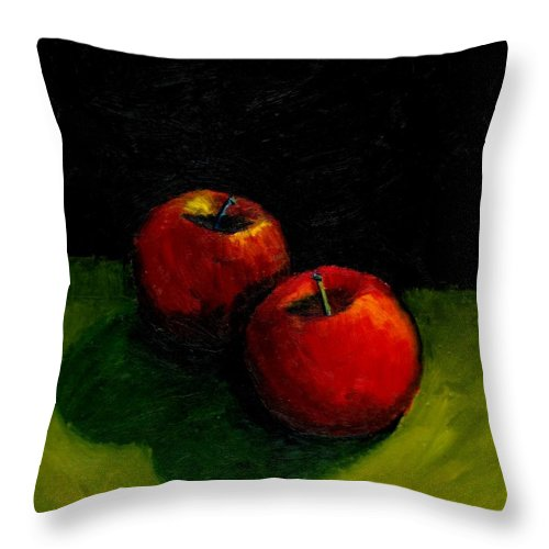 Red Throw Pillow featuring the painting Two Red Apples Still Life by Michelle Calkins