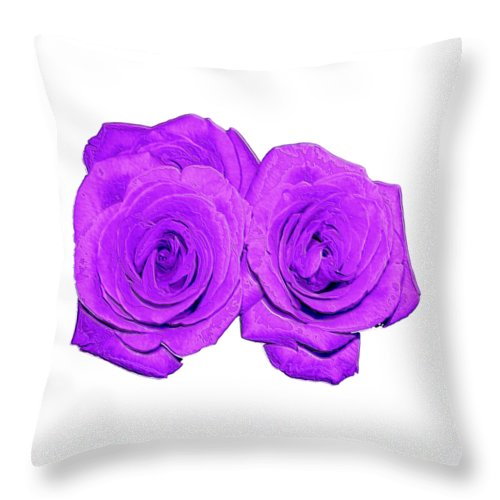 Two Roses Violet Purple And Enameled Effects Throw Pillow featuring the photograph Two Roses Violet Purple And Enameled Effects by Rose Santuci-Sofranko