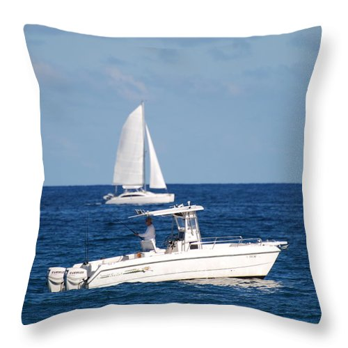 Sea Scape Throw Pillow featuring the photograph Two Ships That Pass Thru The Day by Rob Hans