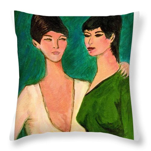 Two Sisters Throw Pillow featuring the painting Two Sisters by Asha Sudhaker Shenoy