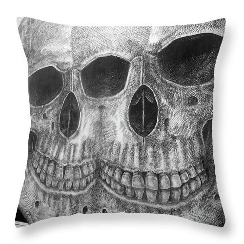 Graffiti Throw Pillow featuring the photograph Two Skulls ... by Juergen Weiss