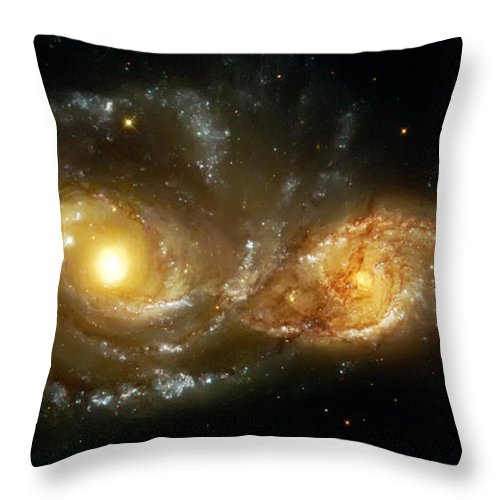 Nebula Throw Pillow featuring the photograph Two Spiral Galaxies by Jennifer Rondinelli Reilly - Fine Art Photography