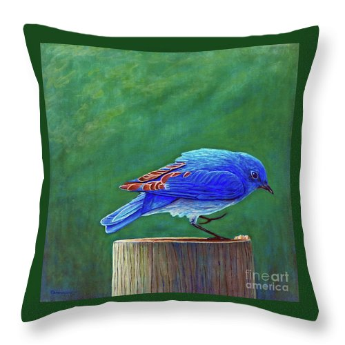 Bluebird Throw Pillow featuring the painting Two Step by Brian Commerford