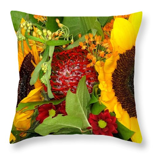 Sunflower Throw Pillow featuring the photograph Two Suns by Ian MacDonald