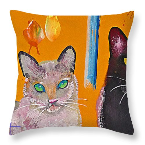 Cat Throw Pillow featuring the painting Two Superior Cats With Wild Wallpaper by Charles Stuart