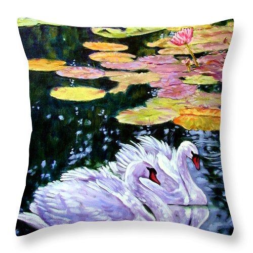 Swans Throw Pillow featuring the painting Two Swans In The Lilies by John Lautermilch