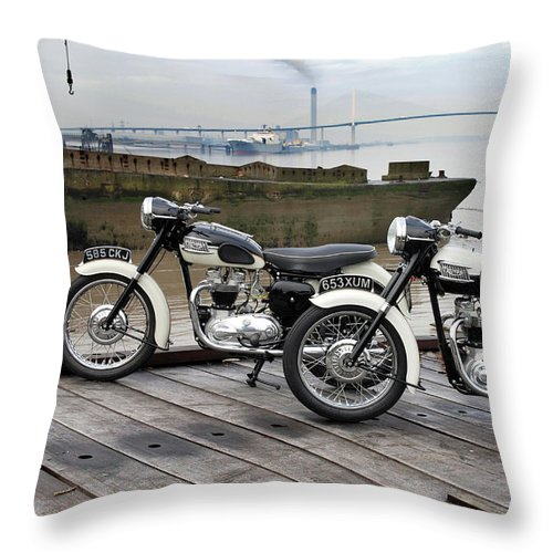 Triumph Tiger Throw Pillow featuring the photograph Two Tigers On The Thames by Mark Rogan