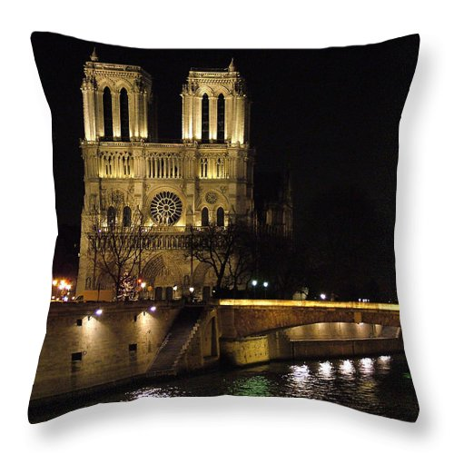 Two Throw Pillow featuring the photograph Two Towers Of Notre Dame by Donna Corless