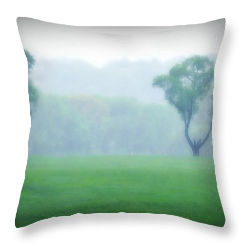 Trees Throw Pillow featuring the photograph Two Trees In The Mist by Bill Cannon