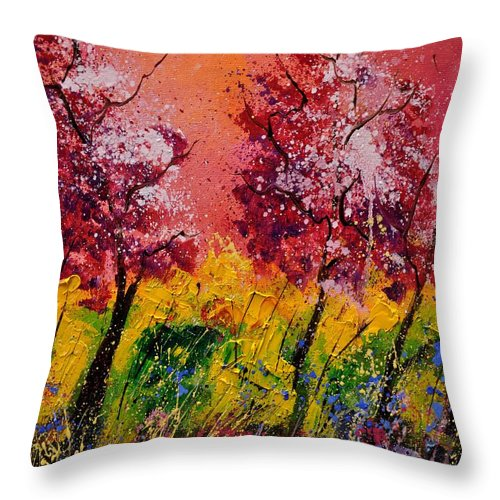 Landscape Throw Pillow featuring the painting Two Trees by Pol Ledent