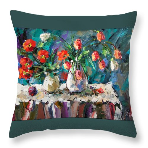Flowers Throw Pillow featuring the painting Two White Tulips by Debra Hurd