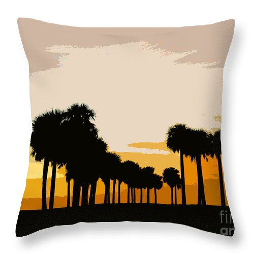 Palm Trees Throw Pillow featuring the painting Two With The Palms by David Lee Thompson