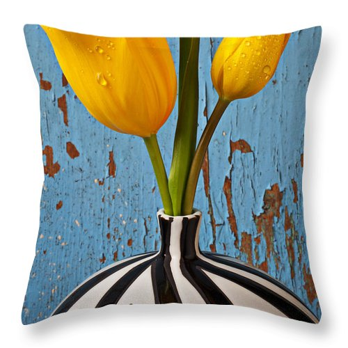 Two Yellow Throw Pillow featuring the photograph Two Yellow Tulips by Garry Gay