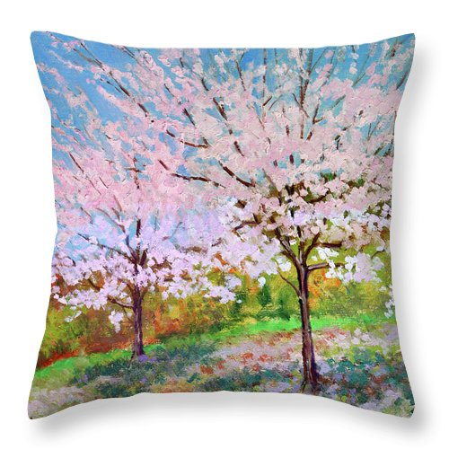 Landscape Throw Pillow featuring the painting Two Yoshinos by Keith Burgess