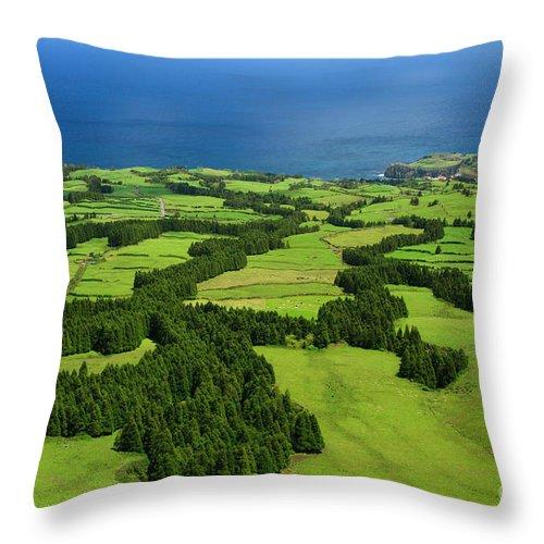 Landscape Throw Pillow featuring the photograph Typical Azores Islands Landscape by Gaspar Avila