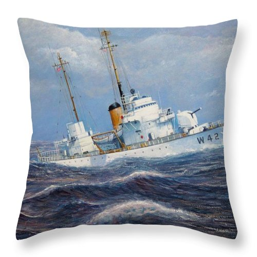 Marine Art Throw Pillow featuring the painting U. S. Coast Guard Cutter Sebago Takes A Roll by William H RaVell III